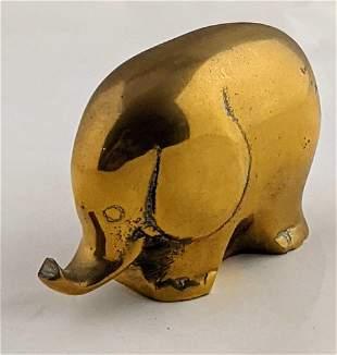 Abstract Modern Art Elephant Figure Cast Brass