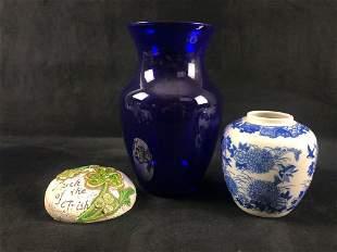Cobalt Blue Glass Vase Floral Ceramix Pot Decrotive