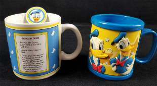 Lot of 2 Vintage Donald Duck Mugs