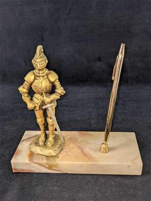 Rare 14K Gold Knight Pen Holder With Cross Mechanical