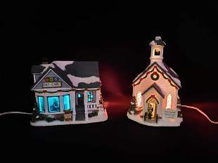 Two St Nicholas Square Illuminated Christmas Decor