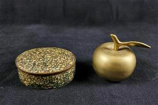 Vintage Brass Bell And Trinket Box Lot Of Two