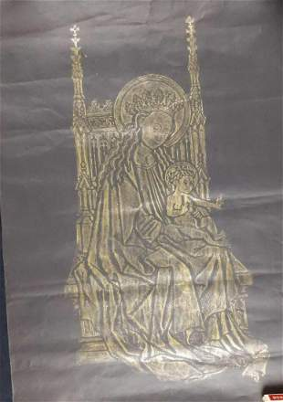 Vintage Madonna and Child Original Brass Rubbing