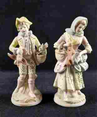 Ceramic Porcelain Male and Female Hunting Victorian