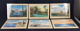 17 Mary Quinnan Whittle Old Florida Art Placemats C