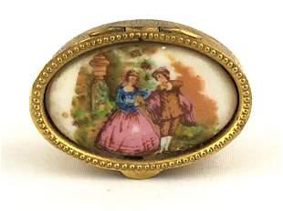 Vintage Italian Victorian Hand Painted Trinket Snuff