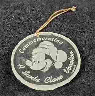 Hand Cut Disney Glass Mickey Mouse Christmas Ornament