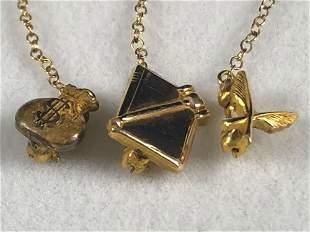 Vintage Solid 14K Gold Navy Pins Lot Of 3