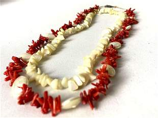 Vintage Natural Red Coral & Mother Of Pearl Beach