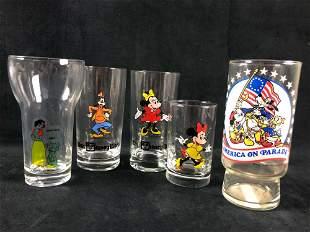 A Lot of 5 Vintage Walt Disney Glasses Minnie Mouse