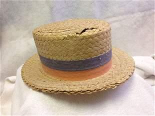 Antique 1920's Straw Boater Skimmer Hat