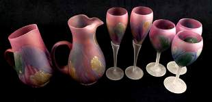 Lot of 7 Nouveau Art Glass by Rueven Glasses and