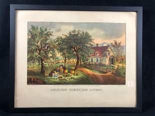 Framed Pubo By Currier & Ives American Homestead Autumn