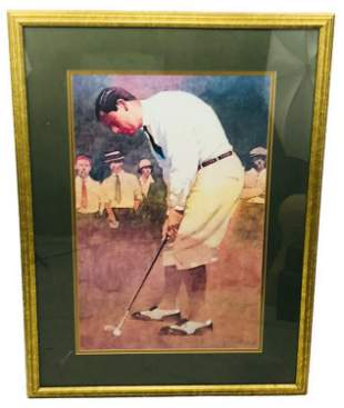 Vintage Large Print of Early 20th Century Golfer
