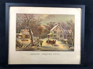 Framed American Homestead Winter Pubo by Currier & Ives