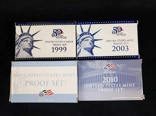 4 United States Mint Proof Sets 1999 2003 2009 2010 C