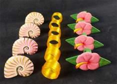 Three Sets Of Napkin Holder Rings Flower Shell