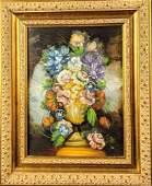 Original Framed Oil On Canvas Vase Of Flowers U1