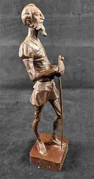 Ouro Artesania Don Quixote Dela Mancha Wood Carved