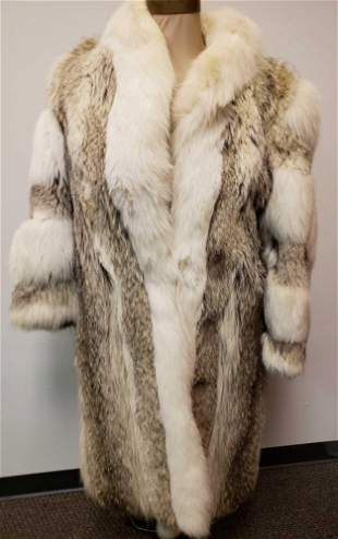 Coyote and White Fox Fur Coat