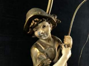 Antique French 1920's Art Nouveau Boy Fishing Statue