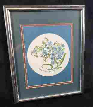 Jean F Tousignant Forget Me Nots 1991 Signed Framed