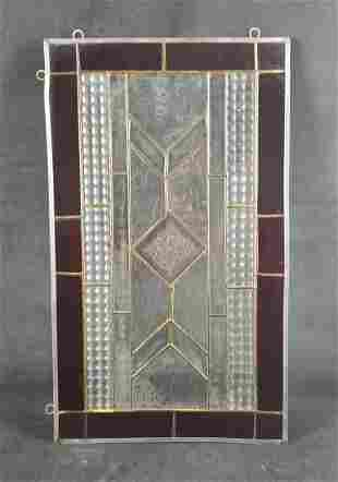 Rectangular Art Deco Stained Glass Panel