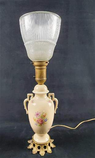 Vintage Urn Table 1930s Porcelain Floral Lamp