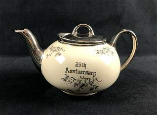 Vintage 25th Anniversary Pearl China Decorated 22