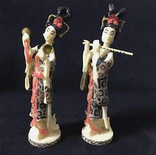 Geisha Chinese Art Figurines Instruments Lot of 2 B