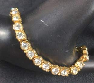Gold Plated Cubic Zirconia In A Row Bracelet