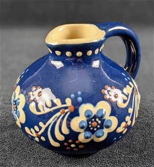 Glossy Blue Ceramic Pottery Bud Vase Pitcher