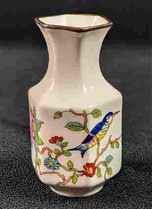 Aynsley Bone China Hexagonal Vase With Hummingbird