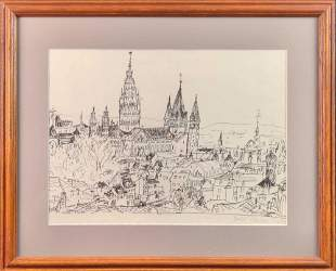 Framed Hand Signed Pen And Ink Print Temple Cathedral