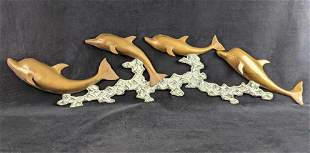 Mid Century Brass Wall Hanging Leaping Dolphins