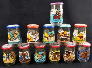 12 Disney Jelly Jars Lion King Donald Duck Pooh