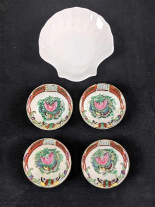 Set Of Four Chinese Vintage Hand Painted Porcelain