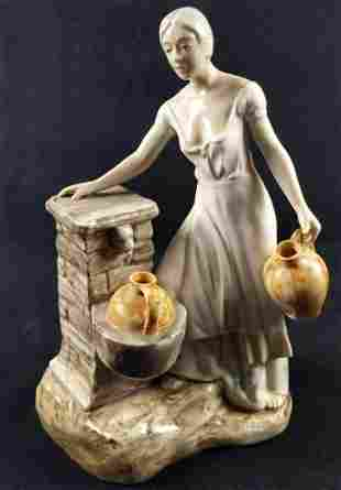 Vintage Ceramic Girl With Water Jugs Lladro Clone