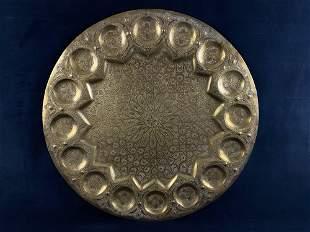 "26"" Middle Eastern Moorish Antique Round Brass Tray /"