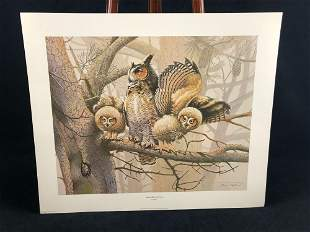 """Vintage Wildlife Artist Jim Oliver """"Great Horned Owl """""""