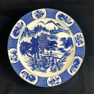 Japanese Ceramic Blue Willow Round Plate