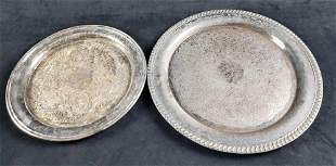 Set of 2 Silverplate Serving Trays