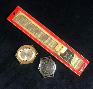Vintage Wrist Watch Bezel Band Parts Lot Of 3