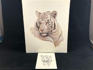 """Vintage Wildlife Artist Jim Oliver """"White Tiger """""""