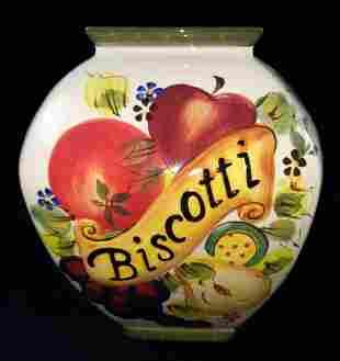 Vintage Handcrafted Ceramic Nonnis Biscotti Jar