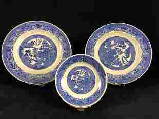 Lot Of 3 Vintage Flow Blue White Chinoiserie Exotic