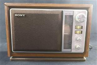 Vintage Sony Table Desk AM/FM Radio Woodgrain