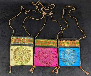 Vintage Lot Of Three Chinese Evening Purses E