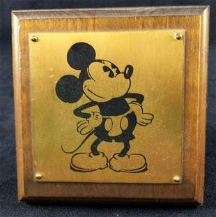 Vintage Brass Toned Odd DIsney Mickey Mouse Plaque