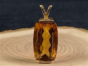 Vintage 14K Gold Citrine Solitaire Charm / Pendant